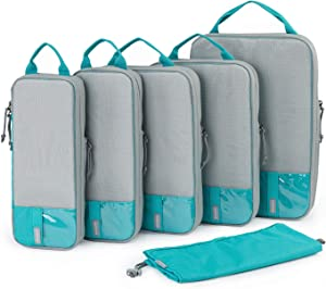BAGSMART Packing Cubes Compression Travel with Laundry Bag Luggage Organizer for Carry-on Suitcase (compression-6 pcs set-teal)