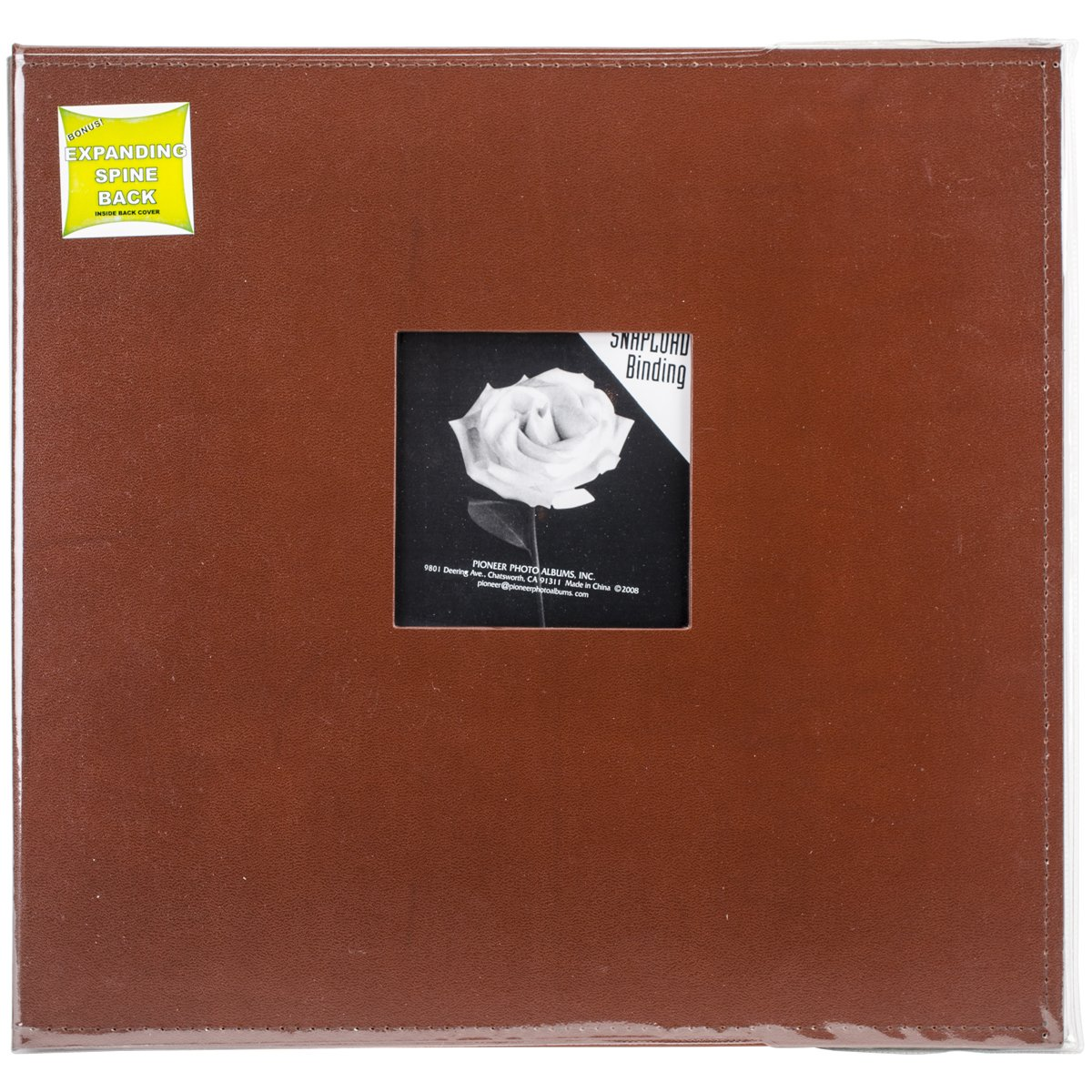 Pioneer 12 Inch by 12 Inch Snapload Sewn Leatherette Frame Cover Memory Book, Brown