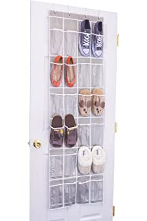 24 Clear Pocket  Home Novelties Over The Door Hanging Shoe Organizer (64u0027u0027