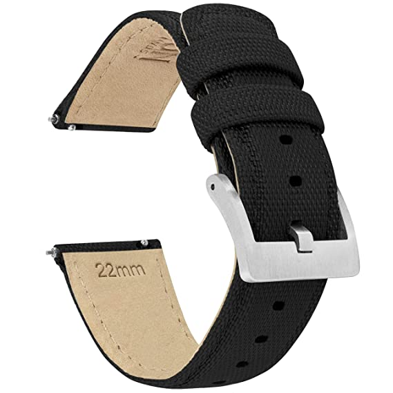 BARTON Watch Bands - Sailcloth Quick Release Straps - Premium Nylon Weave - Soft Leather Lining - Choice of Color and Width - 18mm, 19mm, 20mm, 21mm, ...