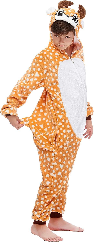 Girls Boys Reindeer Onesie Pyjamas Sleepsuit 3D Hooded Fleece Animal Pattern Unisex Toddler to Teenage Small Adult