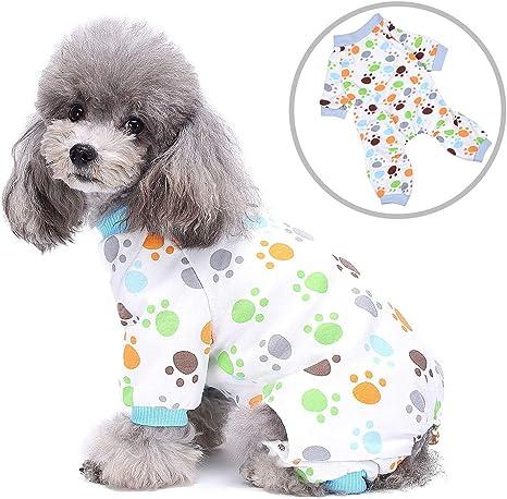 Zunea Pijamas para perros pequeños gatos cachorros pijamas mamelucos de cuatro patas para mascotas mono adorable estampado de pata ropa de dormir ropa ...
