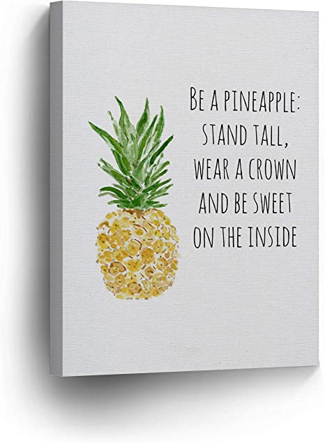Amazon Com Be A Pineapple Stand Tall Wear A Crown Be Sweet On Inside Quote Canvas Print Tropical Decorative Art Wall Decor Artwork Ready To Hang 100 Made In Usa Tropical08 12x8