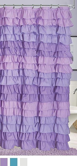Dainty Home Venezia Ruffled Shower Curtain 72 By Inch Purple