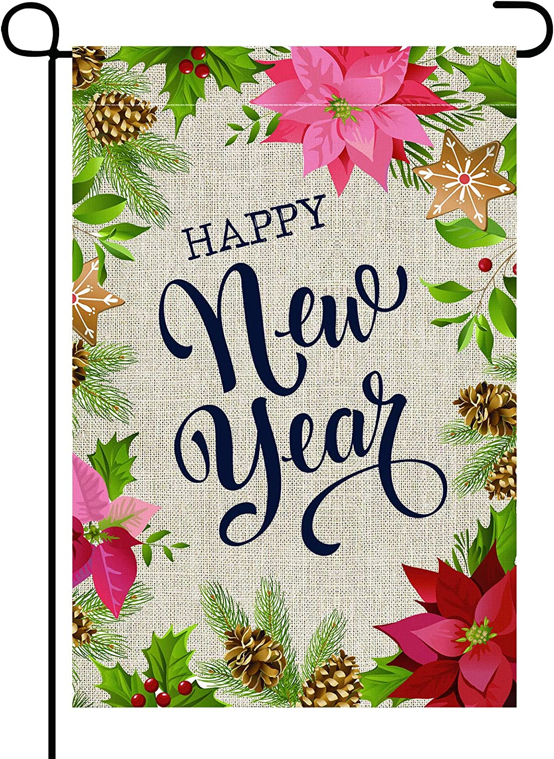 ELOPELY Happy New Year Christmas Garden Flag, Small Winter Burlap Vertical Double Sided Welcome Flag Yard Outdoor Decor, 12.5 x 18 Inches (Red, Green)