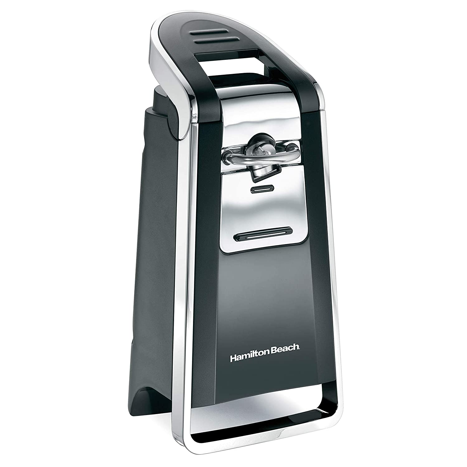 Hamilton Beach 76606ZA Smooth Touch Electric Automatic Can Opener with Easy Push Down Lever, Opens All Standard-Size and Pop-Top Cans, Black and Chrome