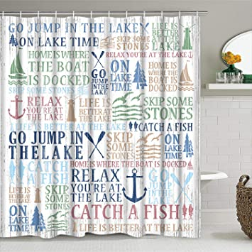 White Lake House Shower Curtain for Bathroom Toilet Lid Cover and Bath Mat Durable Waterproof Lake Time Shower Curtain with 12 Hooks 4 Pcs Lake Words Shower Curtain Sets with Non-Slip Rugs