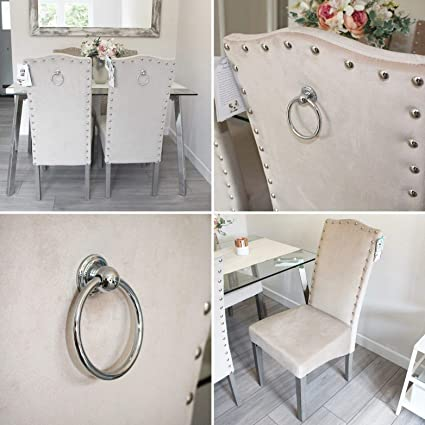 Sconosciuto Set di 2 sedie qualità Knockerback Velvet – Sala da Pranzo,  Cucina, sedie 2 Crema