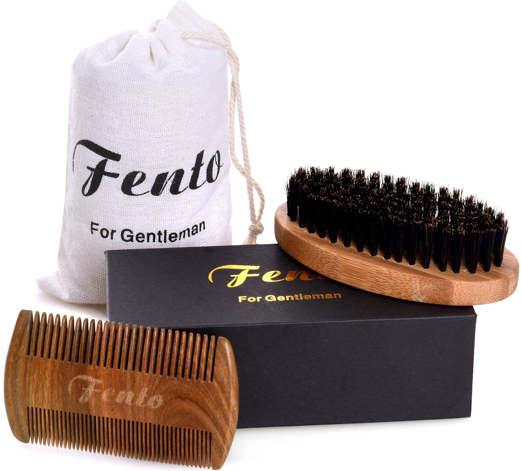 Fento Boar Bristle Beard Brush and Beard Comb Set - For Men Beard and Mustache, Thick & Thin Teeth Sandal Wood Comb, With Gift Box and Carrying Bag