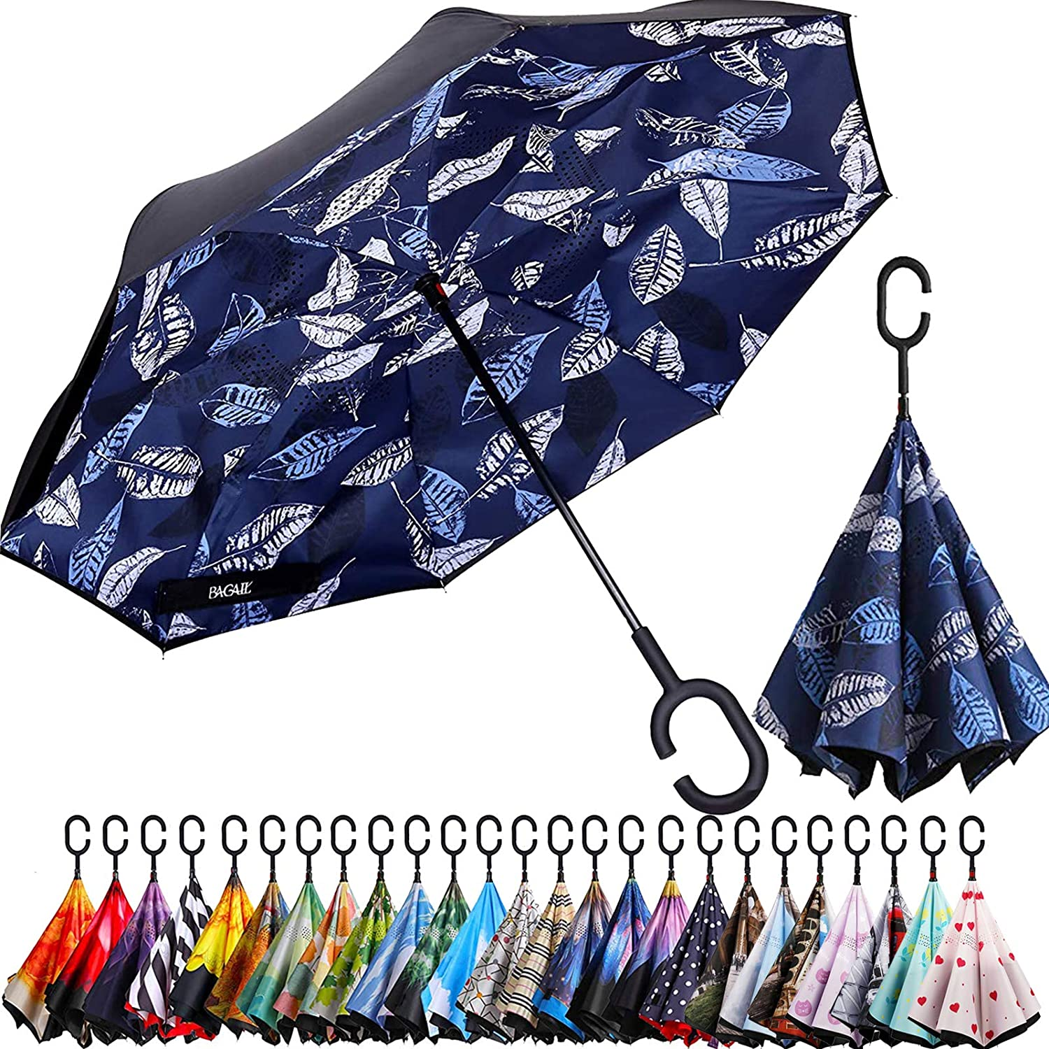 Double Layer Inverted Inverted Umbrella Is Light And Sturdy Romantic Card Valentines Day Funny Swans Reverse Umbrella And Windproof Umbrella Edge Nig