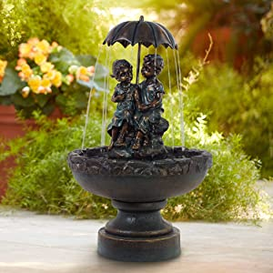 "Boy and Girl Under Umbrella 40"" High Indoor/Outdoor Fountain - John Timberland"