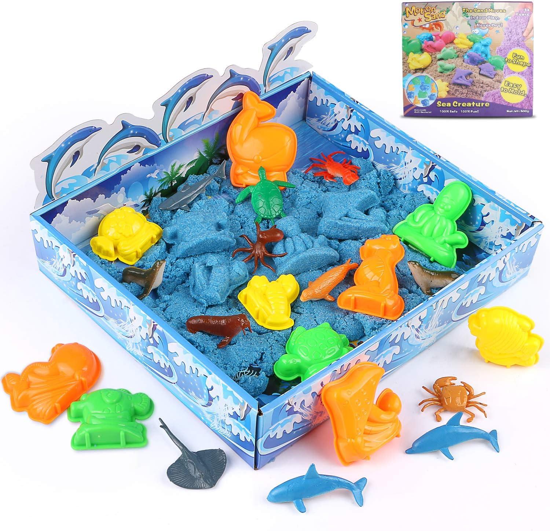 XDDIAS Arena Mágica, 3D cinética Sand Juego 500g, Magic Super Playset con 12 Animales Marinos, No Tóxicos Juguetes de Arena para Niños