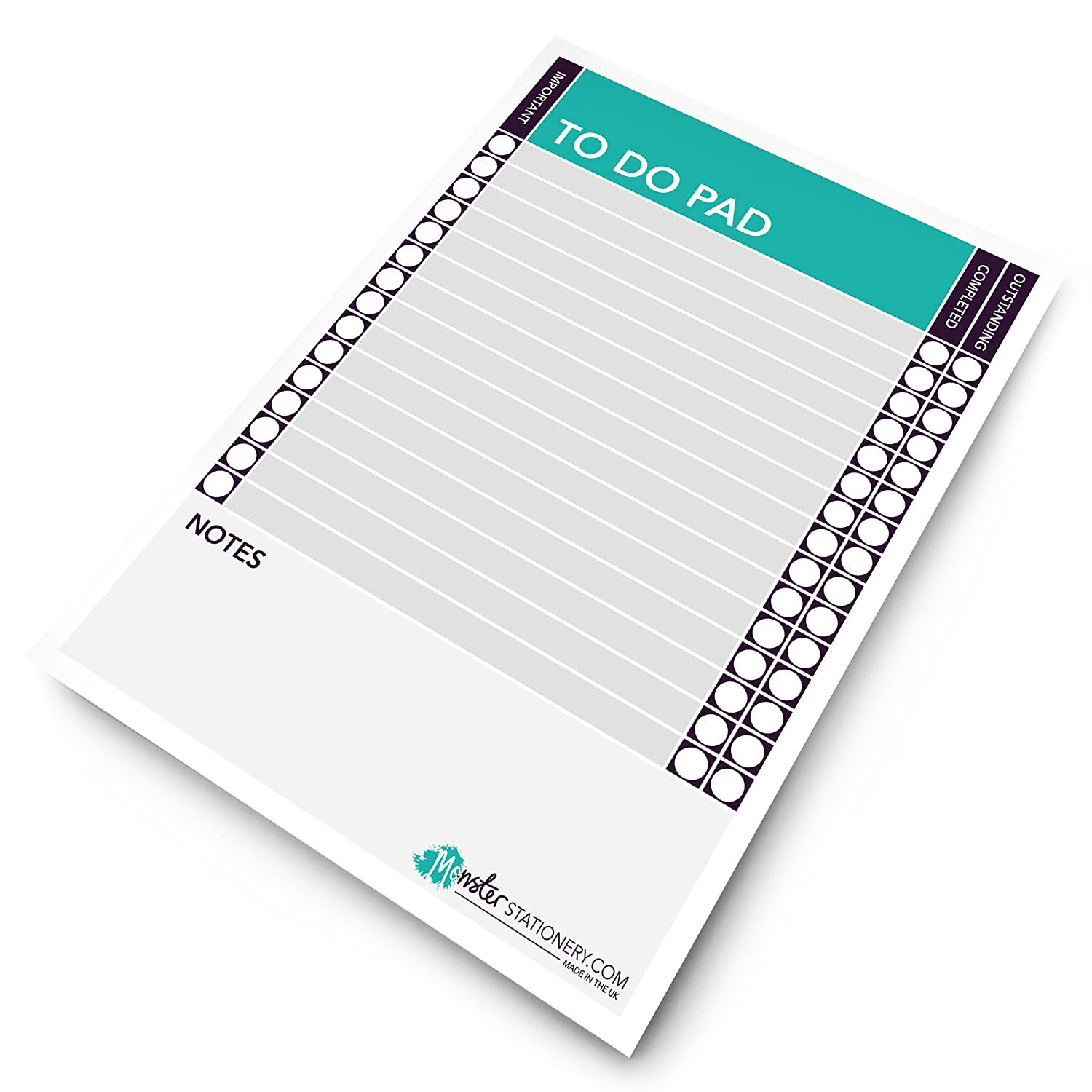 Monster stationery to do pad a5 daily plan to do today daily desk planner schedule to do pad 60 sheets 80gsm made in uk amazon co uk office