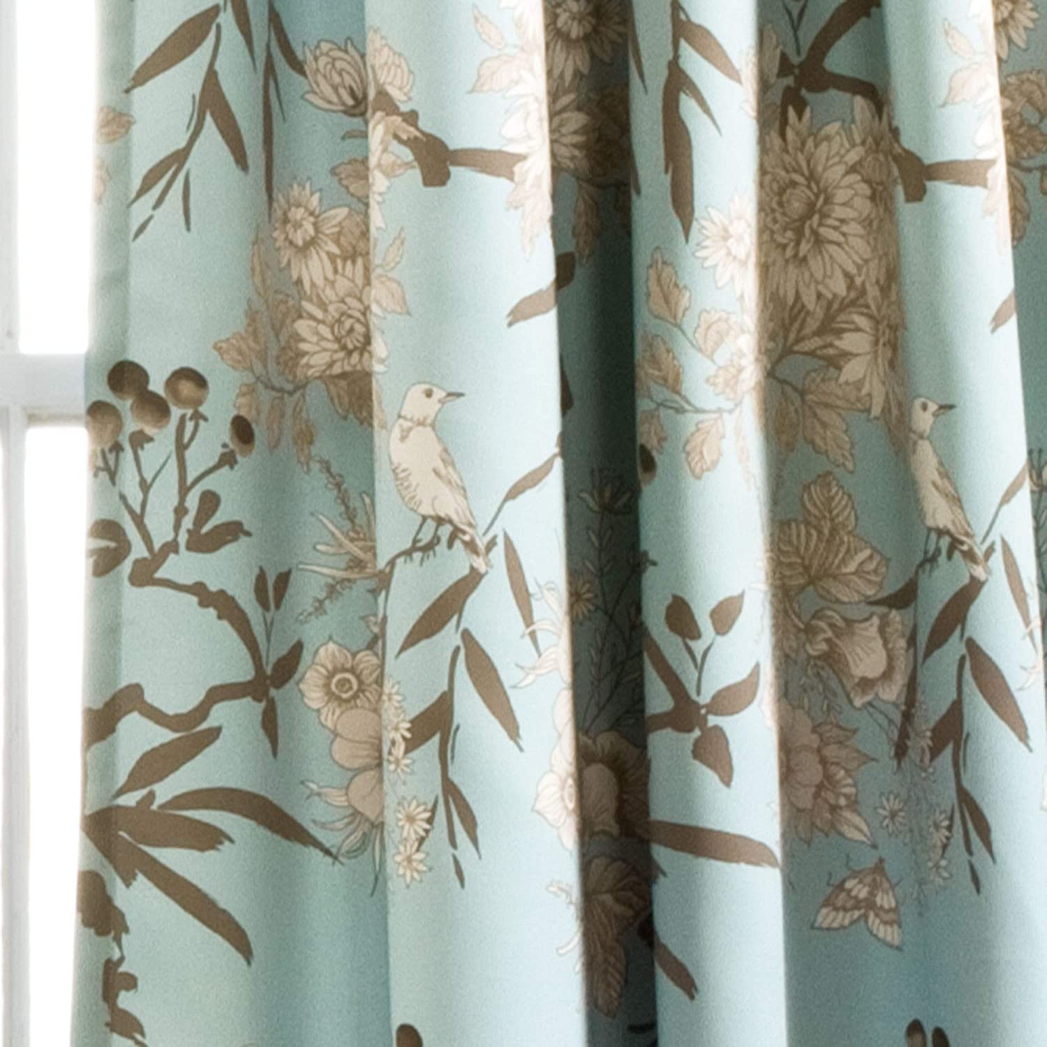 Floral Custom Curtain Panel by Spoonflower Birds Curtain Panel Green Birds by lydia/_meiying