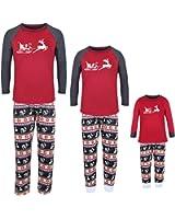 ZRCK Christmas Family Pajamas Matching Sets Summer, Moose Long Sleeve Holiday Spring Sleepwear Sets