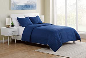 VCNY Home | Waffle Weave Collection | Quilt Set - Ultra-Soft Coverlet Bedding with Embossed Circle Texture - Lightweight, Cool, and Breathable, Machine Washable, King, Navy