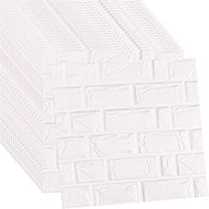 WADILE 3D Wall Panels Peel and Stick, Self Adhesive PE Foam Wallpaper, for Interior Wall Decor Brick Wall Living Room
