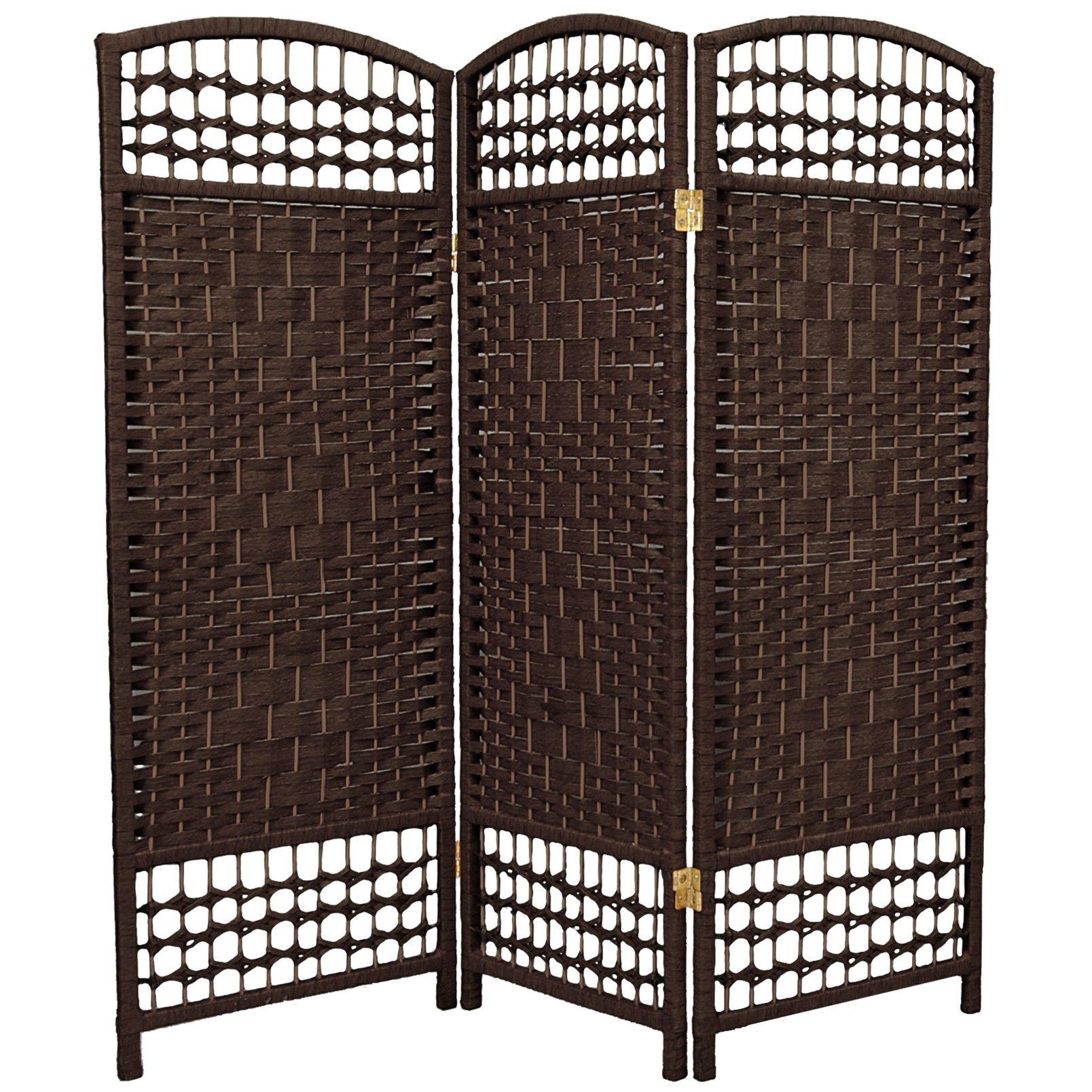 ORIENTAL FURNITURE 4 ft. Tall Fiber Weave Room Divider - Dark Mocha - 3 Panels