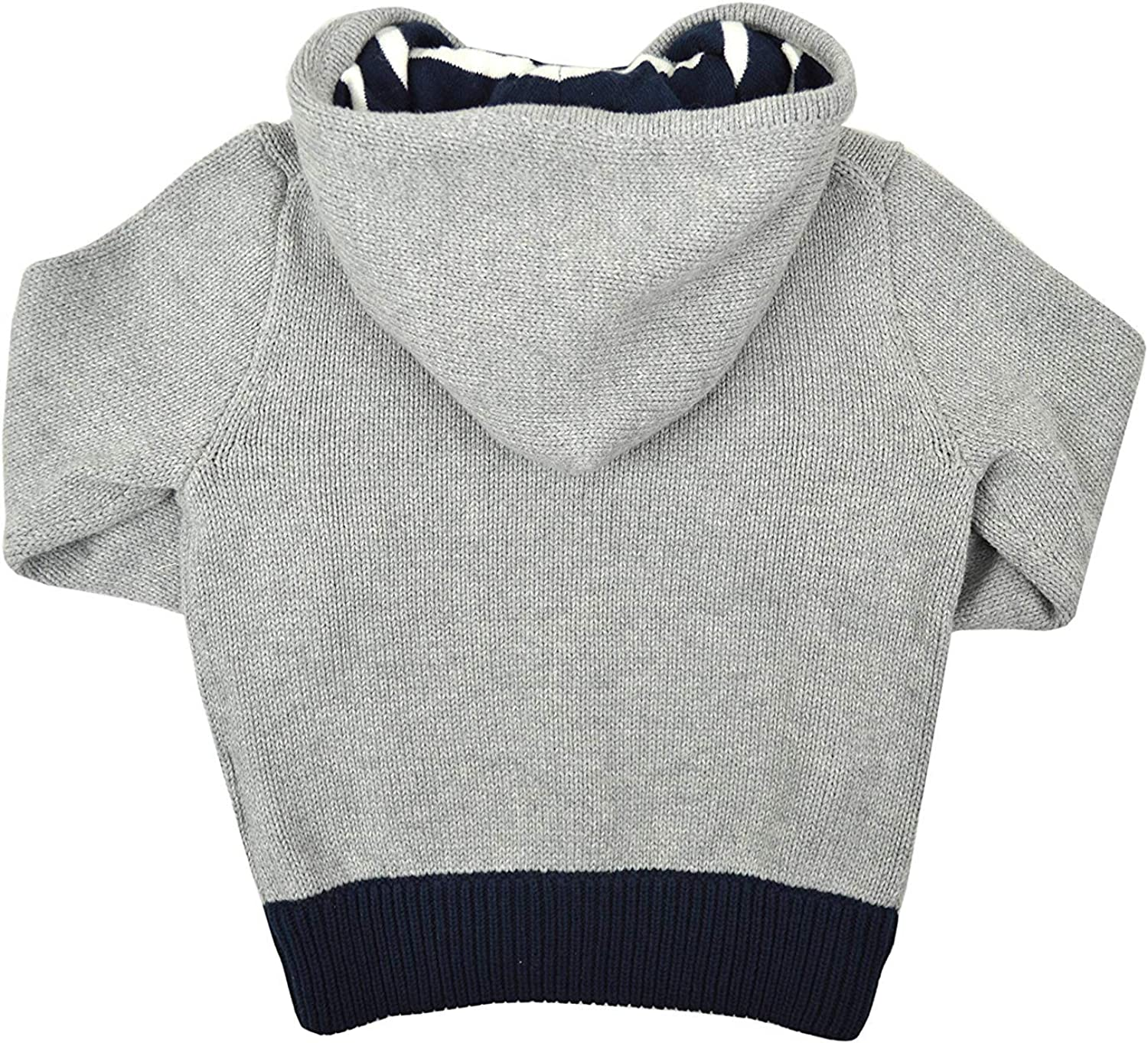 5 Polo Ralph Lauren Toddlers Boys Woven Knit Striped Hood Zip Up Hoodie Sweater Grey Heather