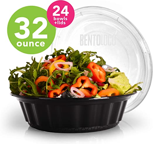 32oz Round Food Containers Meal Prep BPA FREE Microwavable Lunch Salad Bowl KETO