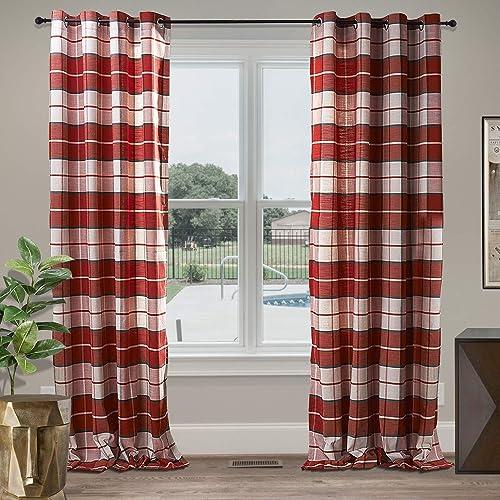 cololeaf Grommet Blackout Curtains Check Plaid Cotton Window Curtain Panel Drape