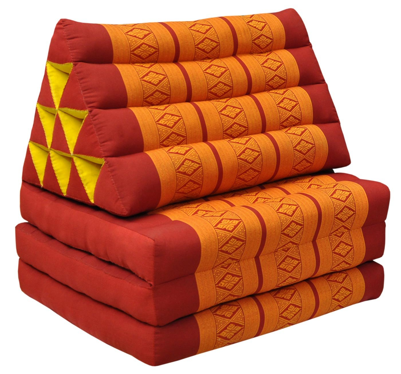 Thai mattress 3 folds with triangle cushion, red/orange, relaxation, beach, pool, meditation garden (81003) by Wilai GmbH