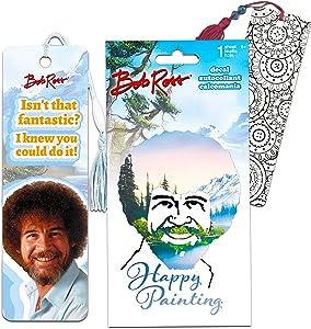 Bob Ross Decal Bookmark Pack ~ One Bob Ross Decal and One Bob Ross Bookmark with Additional Bookmark (Bob Ross Decorations)