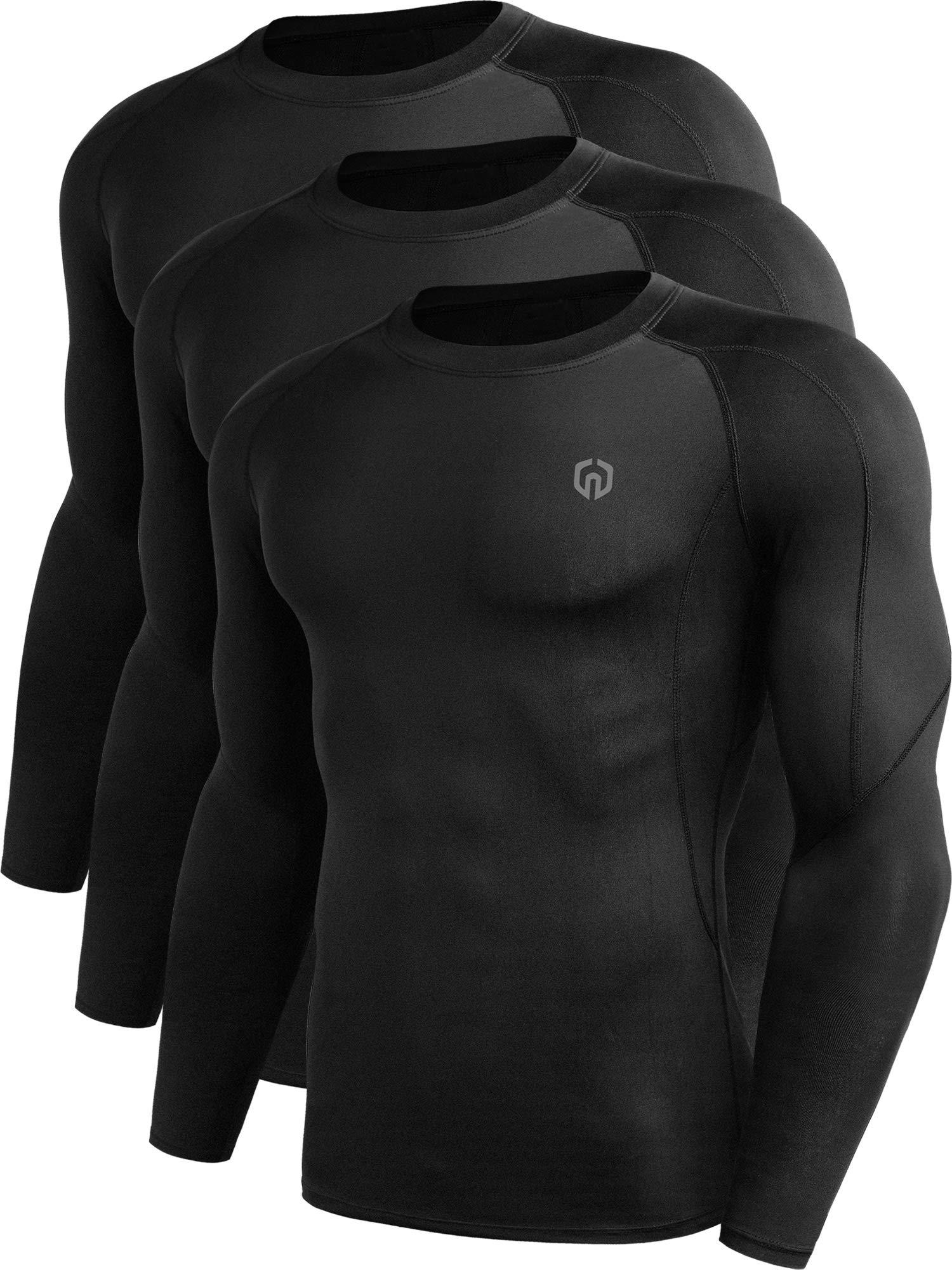 Neleus Men's 3 Pack Compression Workout Long Sleeve Shirts,5030,Black,US XL,EU 2XL by Neleus