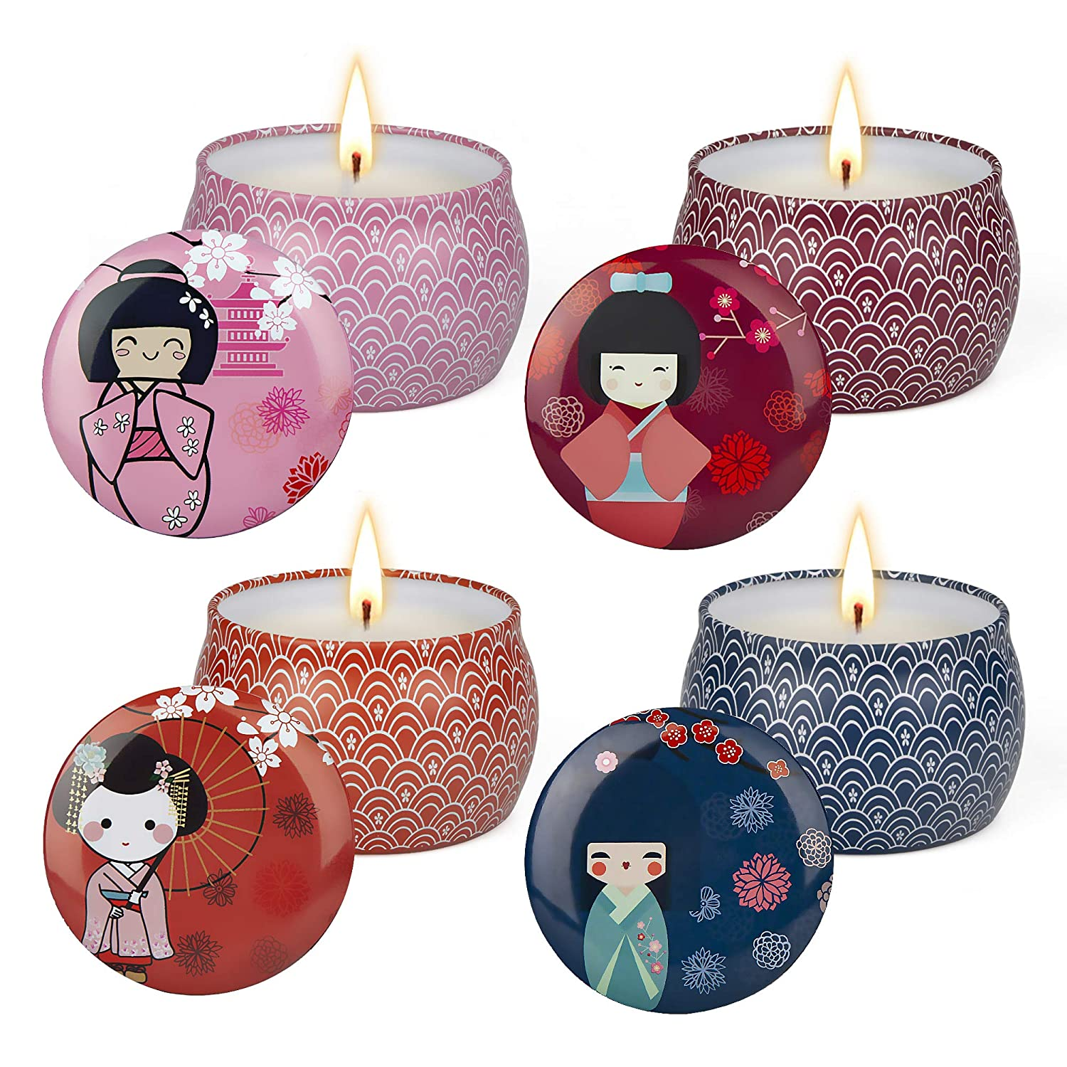 CREASHINE Scented Candles Gifts Set for Women, 4.4Oz Natural Soy Wax Travel Tin Candle Home Decor Women Gift with Strongly Fragrance Essential Oil for Stress Relief and Aromatherapy - 4 Pack