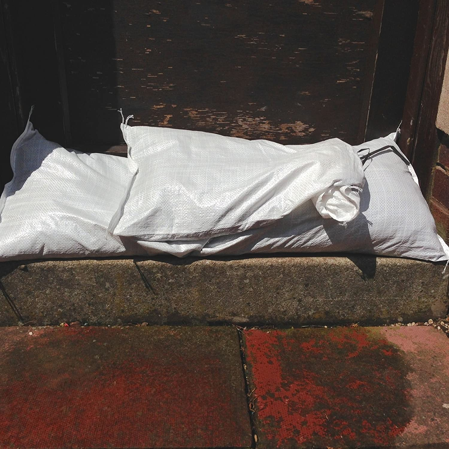 15x Yuzet White Woven Polypropylene Sandbags for Flood Defence