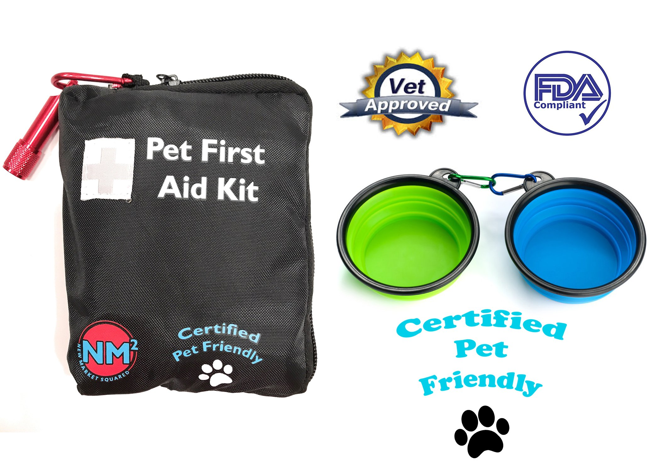 Pet First Aid Kit for Dogs And Cats | 25 Piece First Aid Kit For Your Pets | Perfect for Home, Travel, Camping, And Hiking | Comprehensive Pet Emergency Care Handbook | Certified Pet Friendly