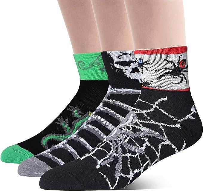 LIN 3 Pack Men's Cycling Socks Cool Ankle Bike Socks Crazy Spider Skeleton Lizard Animal Pattern Bicycle Socks
