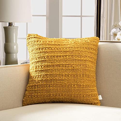 TINA S HOME Soft Warm Woven Knit Throw Pillow woth Down Alternative Filling for Sofa Couch Bed Decor 18×18, Mustard Yellow