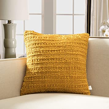 Surprising Tinas Home Soft Warm Woven Knit Throw Pillow Woth Down Alternative Filling For Sofa Couch Bed Decor 18X18 Mustard Yellow Theyellowbook Wood Chair Design Ideas Theyellowbookinfo