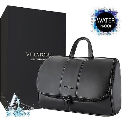 40ca722fcb64 good VILLATONE Leather Toiletry Bag for Men. Large Black Hanging Travel  Organizer