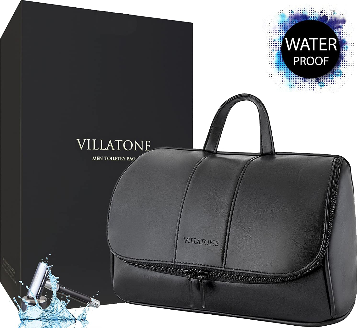 25c74a109f low-cost VILLATONE Leather Toiletry Bag for Men. Large Black Hanging Travel  Organizer