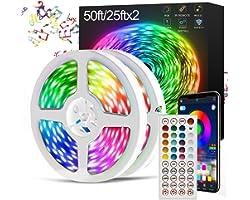 CHUSSTANG LED Light Strips, LED Strip Lights 50ft Led Lights for Bedroom 15M RGB Color Changing Strip Lights Music Sync Light