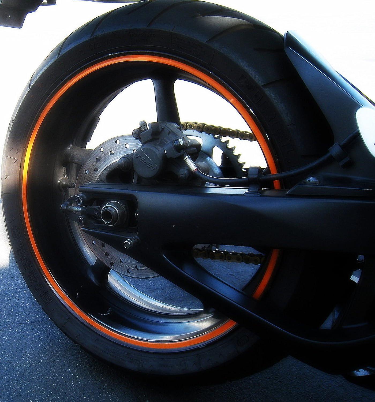 Amazoncom Orange Reflective Wheel Rim Stripe Decal Sticker Tape - Vinyl stripes for motorcyclesred rim tape decals motorcyclewheel vinyl stickers stripes