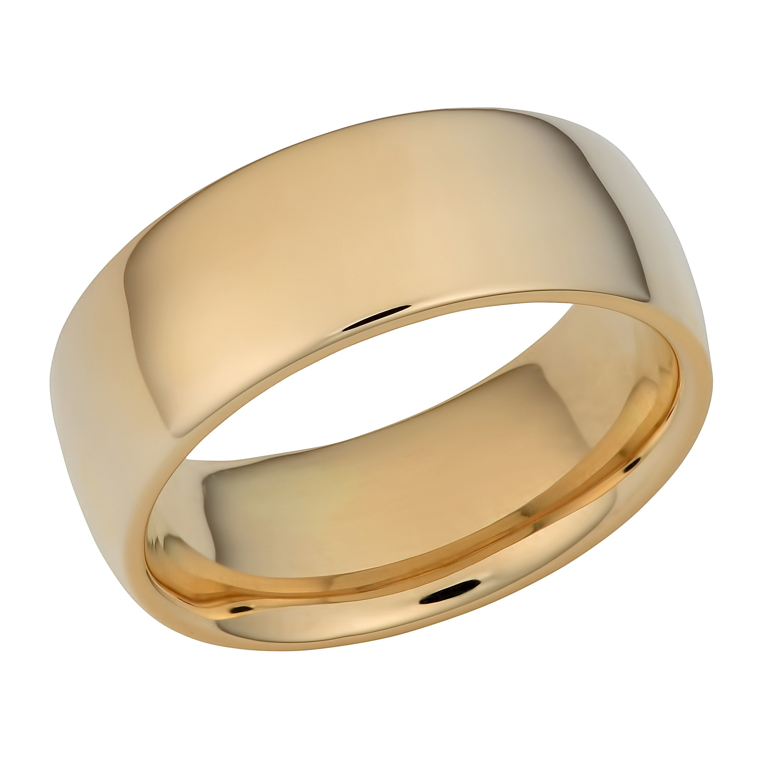 Kooljewelry 14k Yellow Gold 8 mm Comfort Fit Hollow Wedding Band (Size 11) by Kooljewelry