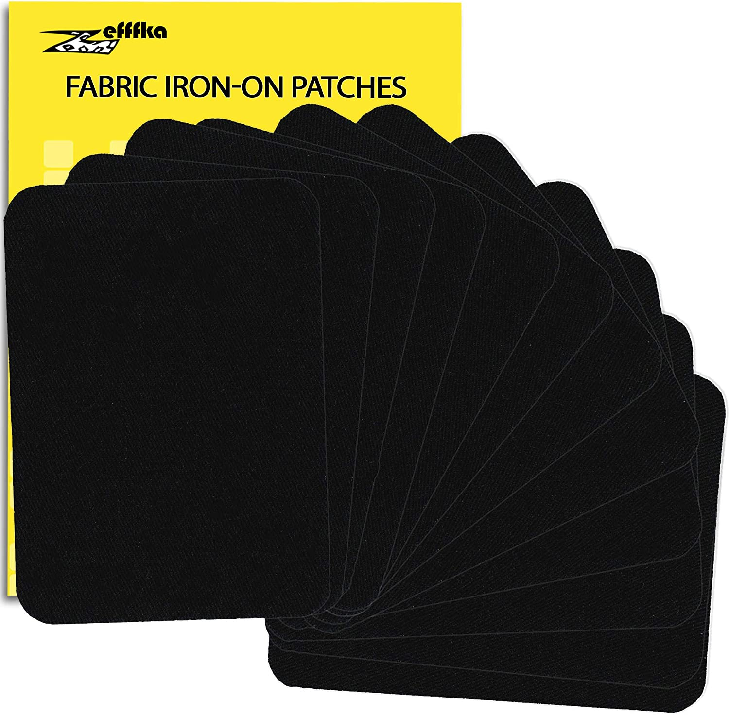 "ZEFFFKA Premium Quality Fabric Iron On Patches Deep Black 12 Pieces 100% Cotton Repair Kit 3"" by 4-1/4"""