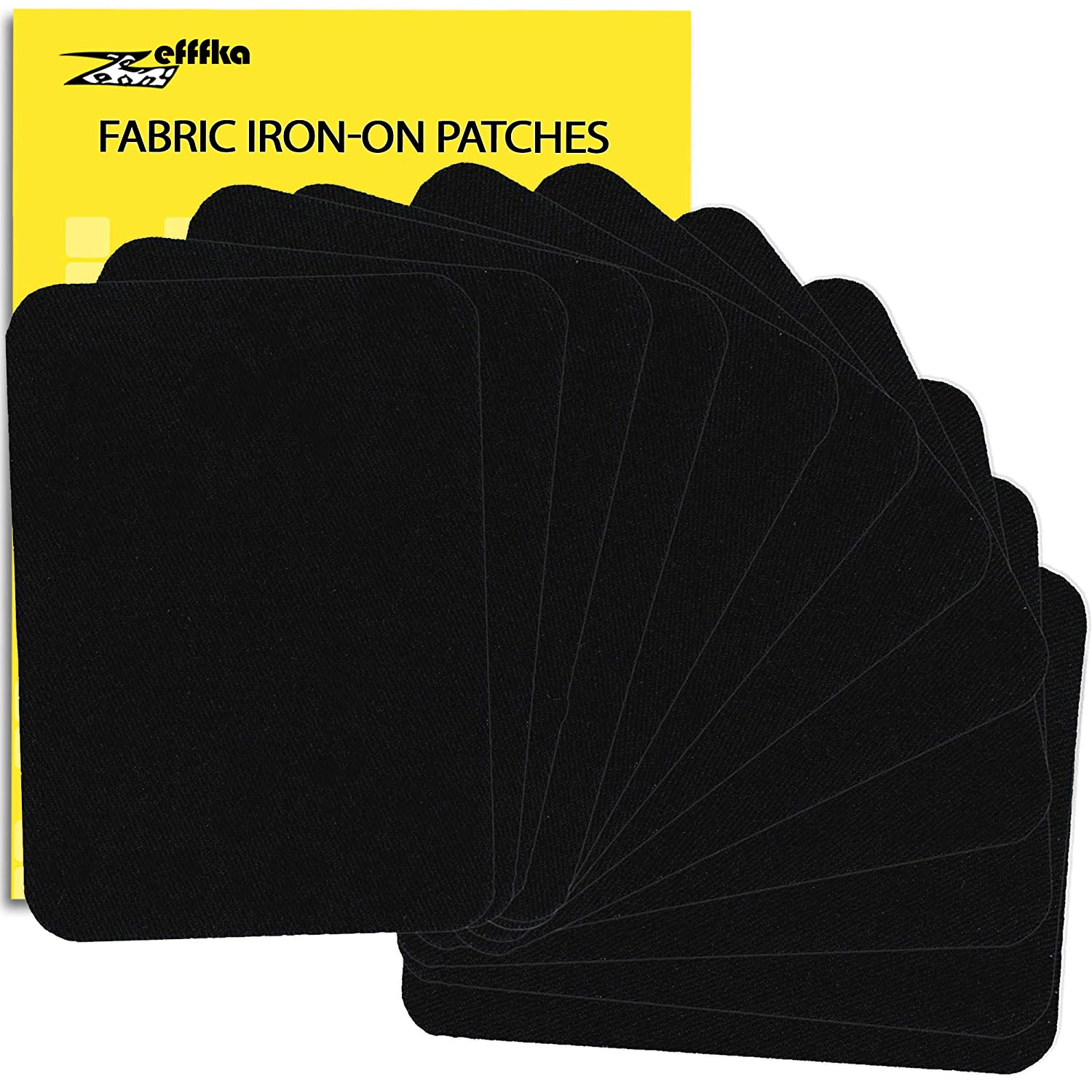 ZEFFFKA Premium Quality Fabric Iron On Patches Deep Black 12 Pieces 100% Cotton Repair Kit 3 by 4-1/4
