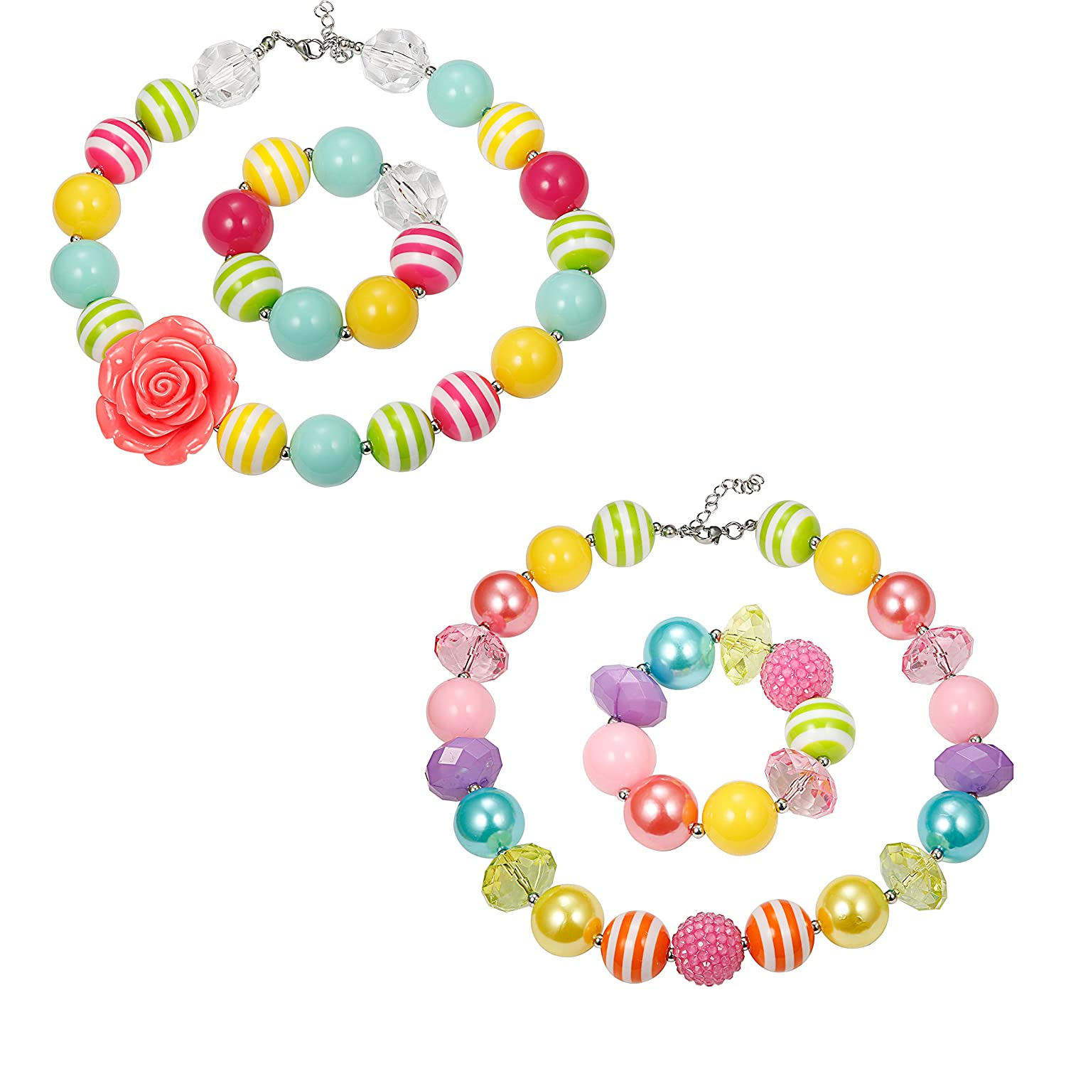Thunaraz 1-2 Pairs Cute Chunky Bubblegum Necklace and Bracelet set for Girls 0C-F1F7-W47N