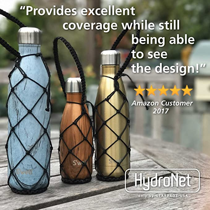 e2e24dee58 Amazon.com : Gearproz Water Bottle Holder - Compatible with S'well, Mira,  Manna and Simple Modern Bottles 9, 17, 25 oz - Durable, Handcrafted Net  Carrier ...