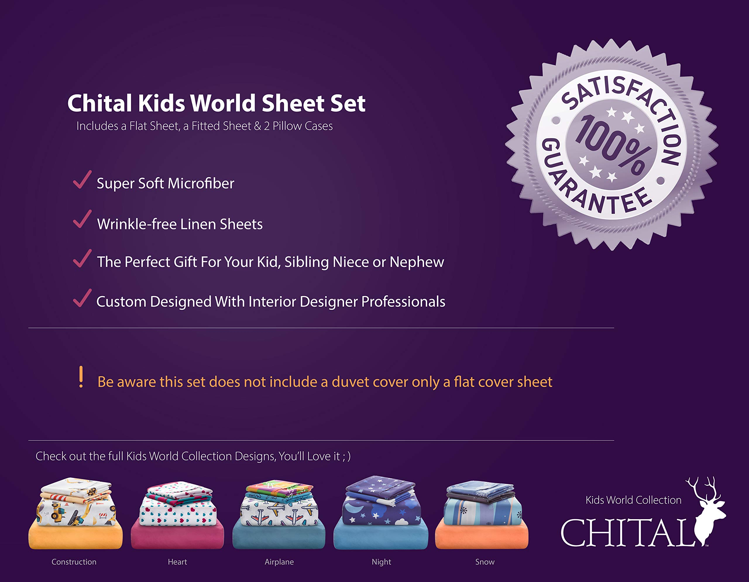 Chital Twin Bed Sheets for Boys | 4 Pc Kids Bedding Set | Construction & Tractor Print | Durable Super-Soft, Double-Brushed Microfiber | 1 Flat & 1 Fitted Sheet, 2 Pillow Cases | 15'' Deep by Chital (Image #2)