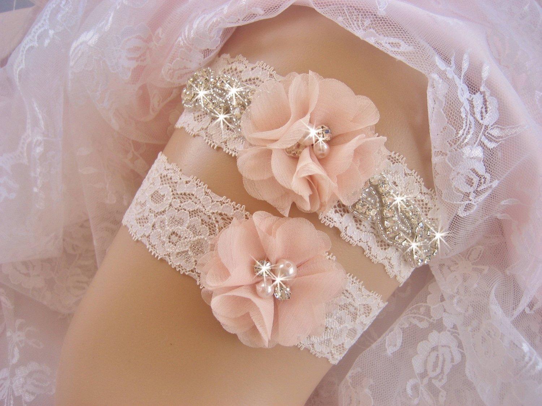 Blush Wedding Garter Set with Toss Garter
