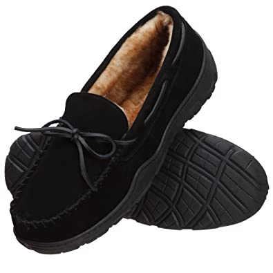 Rockport Men's Memory Foam Plush Suede Slip On Indoor/Outdoor Moccasin  Slipper Shoe (13