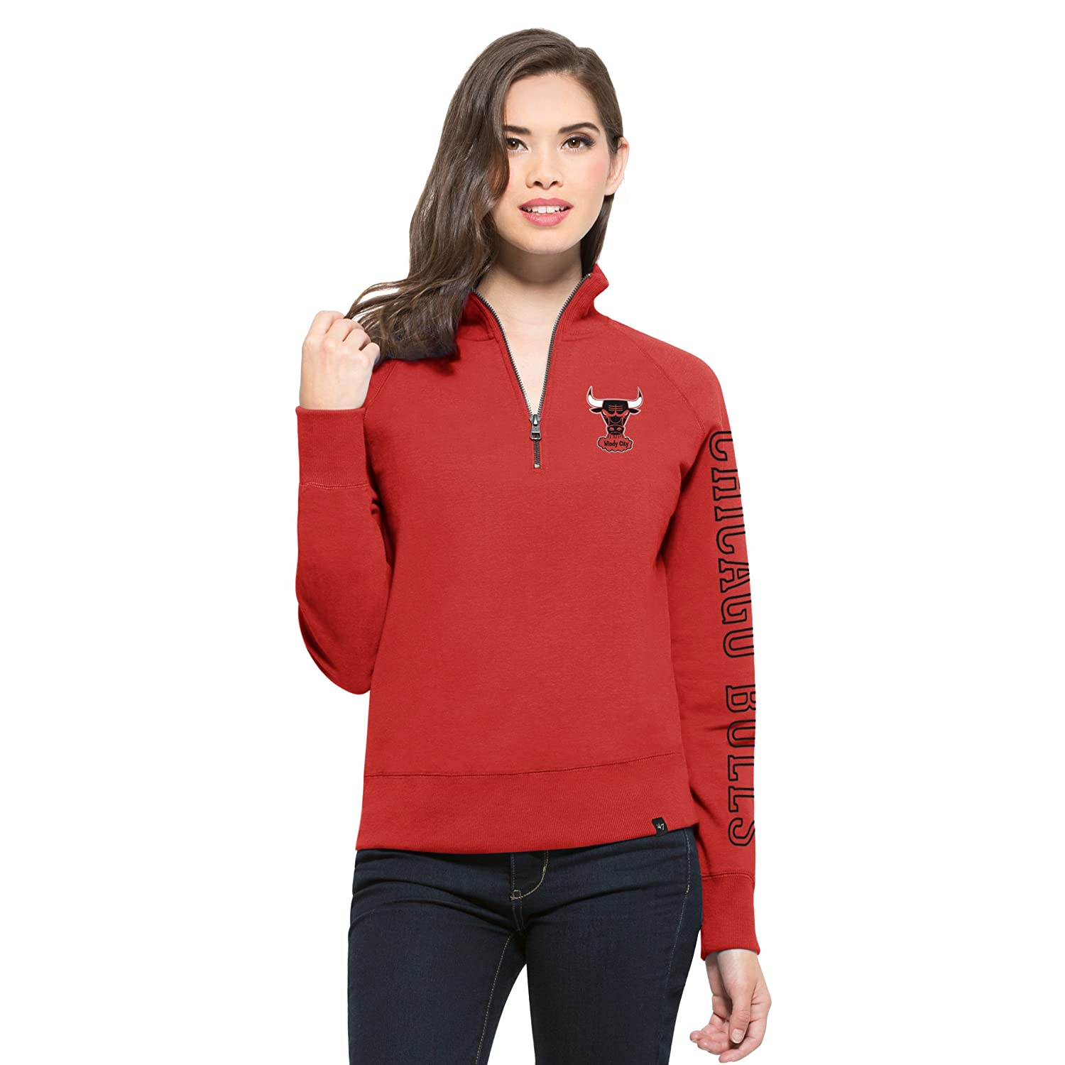 NBA Womens 47 Shimmer Cross-Check 1//4-Zip Fleece Pullover