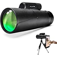 Monocular Telescope, HD Low Night Vision Waterproof- Shockproof High Power and Phone Adapter, Tripod Holder for Bird…