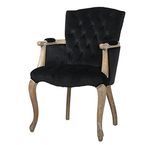 Amherst Black Velvet Arm Dining Chair
