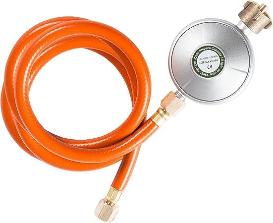 Ultranatura Regulador de Baja Presión con Manguera Incluida, Regulador de Gas para Barbacoa o Calentadores, Apta para Bombonas de Gas de Hasta 11 kg, ...